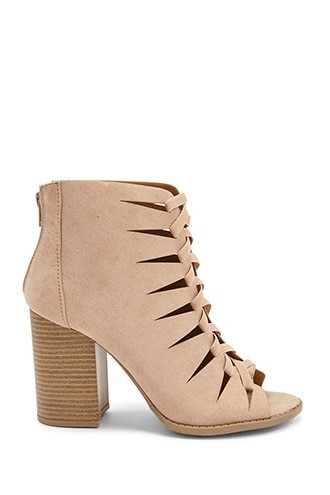 Forever 21 Qupid Faux Suede Cutout Heels  Taupe GOOFASH 2000318030036