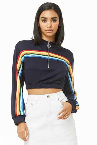 3f653227bd7 Forever 21 Rainbow Striped-Trim Crop Top Navy GOOFASH 2000314978014