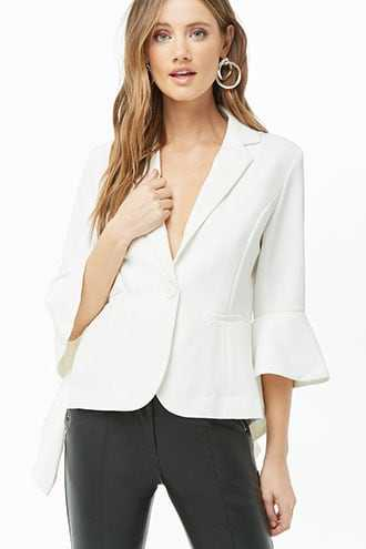 Forever 21 Ruffle-Trim Button-Front Blazer Ivory GOOFASH 2000310863034