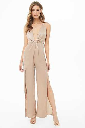 Forever 21 Satin Wide-Leg Jumpsuit  Taupe GOOFASH 2000345757014