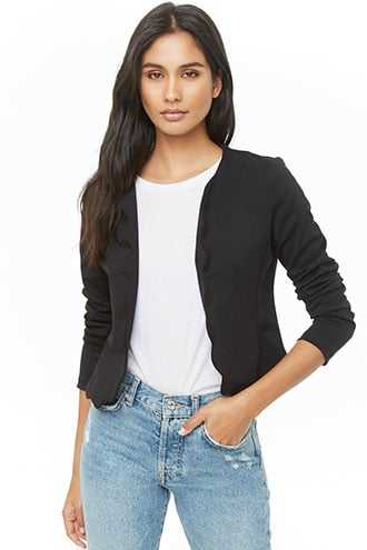 65c32f9f9b Forever 21 Scalloped Open-Front Jacket Black GOOFASH 2000347351014