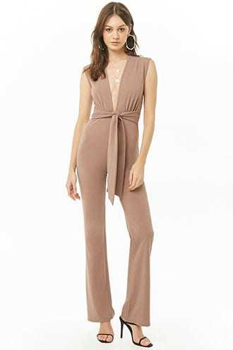 Forever 21 Sleeveless Tie-Front Jumpsuit  Brown GOOFASH 2000344267024