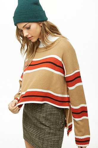 Forever 21 Striped Knit Step-Hem Sweater  Taupe/rust GOOFASH 2000324867014