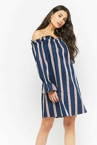 85f4a514ade Forever 21 Striped Off-the-Shoulder Dress Navy GOOFASH 2000274960024