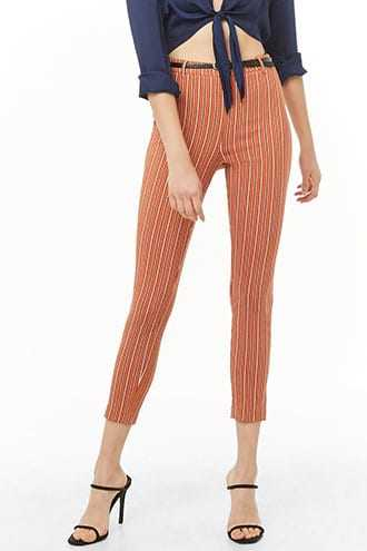 Forever 21 Striped Skinny Ankle Pants Rust/cream GOOFASH 2000334599084