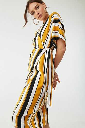 c4021e60044 Forever 21 Striped Surplice Wrap Dress Black mustard GOOFASH 2000327228024