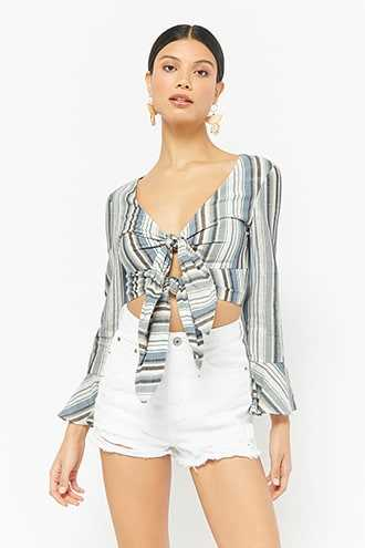 6100e0c922a Forever 21 Striped Tie-Front Bell-Sleeve Crop Top Blue GOOFASH 2000276742014