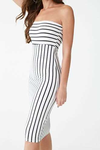 925d772fe85 Forever 21 Striped Tube Dress White black GOOFASH 2000355257034