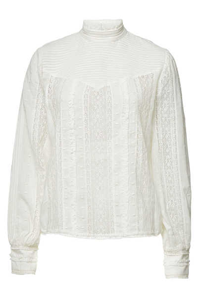 Frame Denim Embroidered Lace Blouse with Cotton GOOFASH 289761