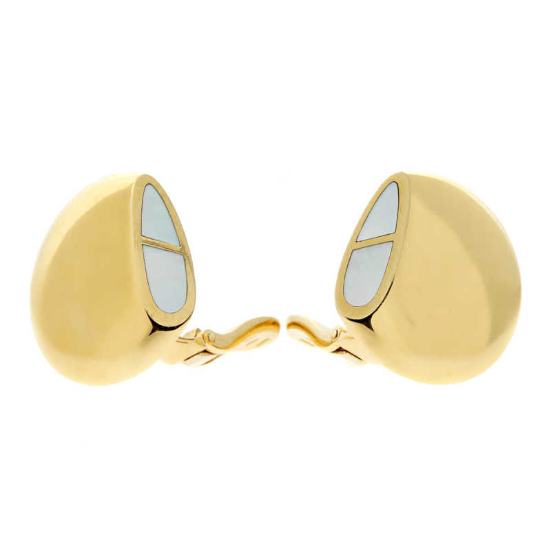 Hermes Gold Mother of Pearl Earrings Gold - Opulent - GOOFASH 13847423890