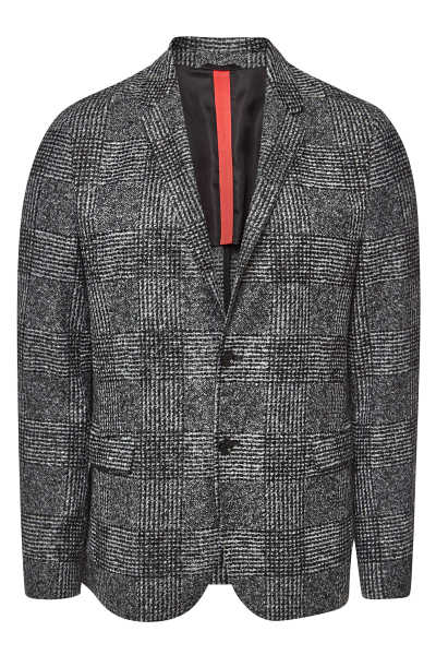 Hugo Arwido Checked Coat with Virgin Wool GOOFASH 296447