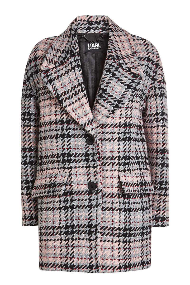 Karl Lagerfeld Oversized Check Coat with Wool GOOFASH 293617