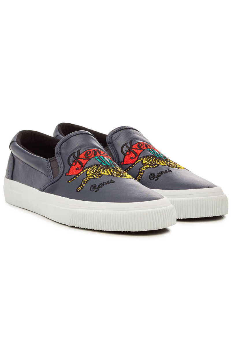 Kenzo Embroidered Leather Slip-On Sneakers GOOFASH 293452