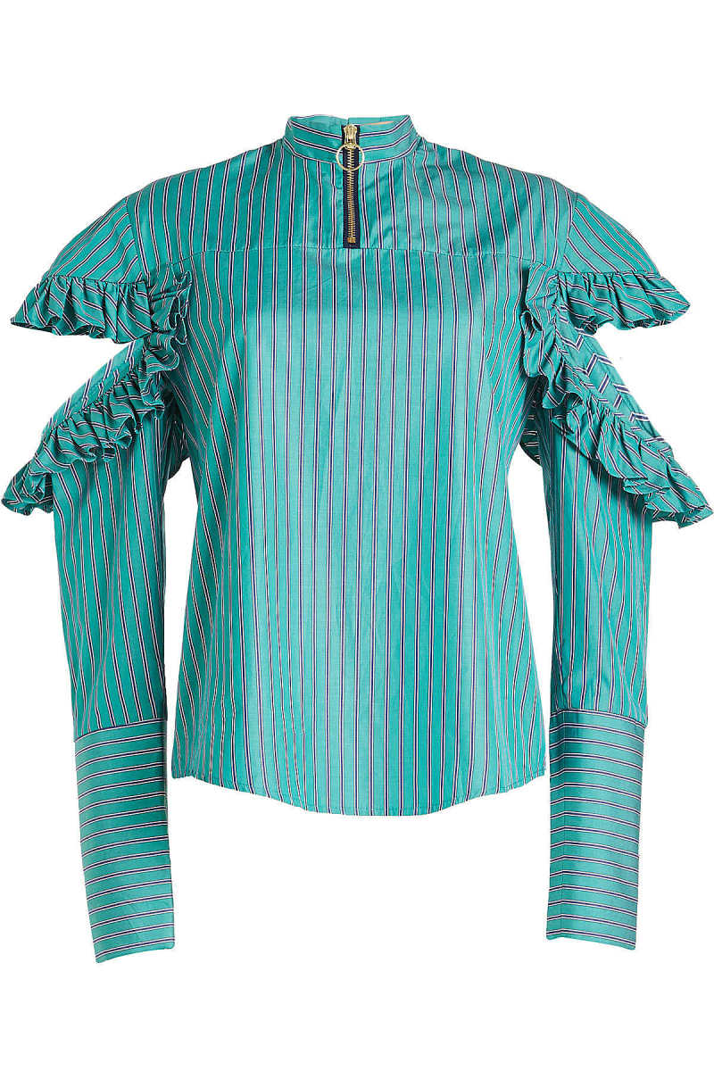 Maggie Marilyn Cold-Shoulder Cotton Blouse with Ruffles GOOFASH 275018