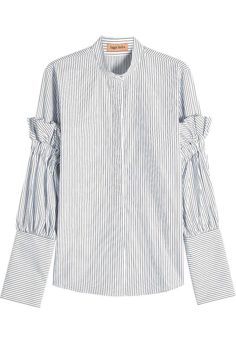 Maggie Marilyn Striped Cotton Shirt with Ruffles GOOFASH 275020