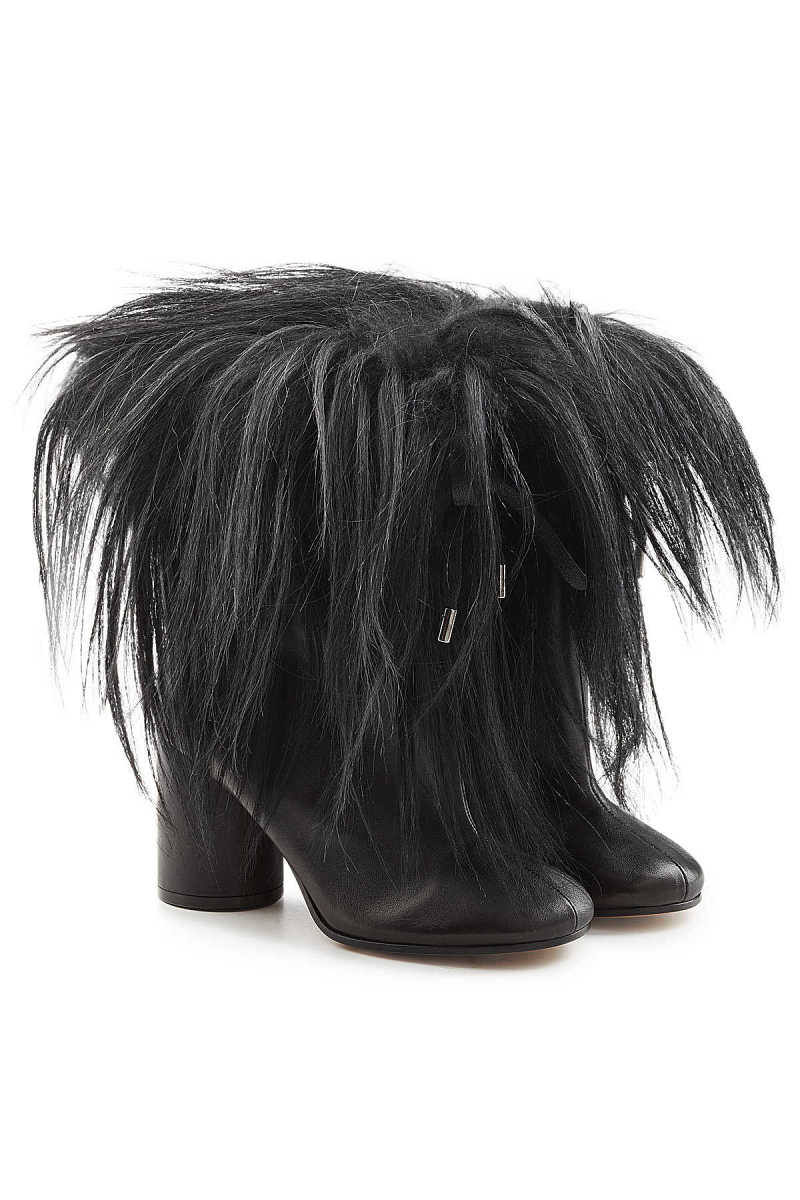 Maison Margiela Leather Ankle Boots with Goat Hair GOOFASH 277657