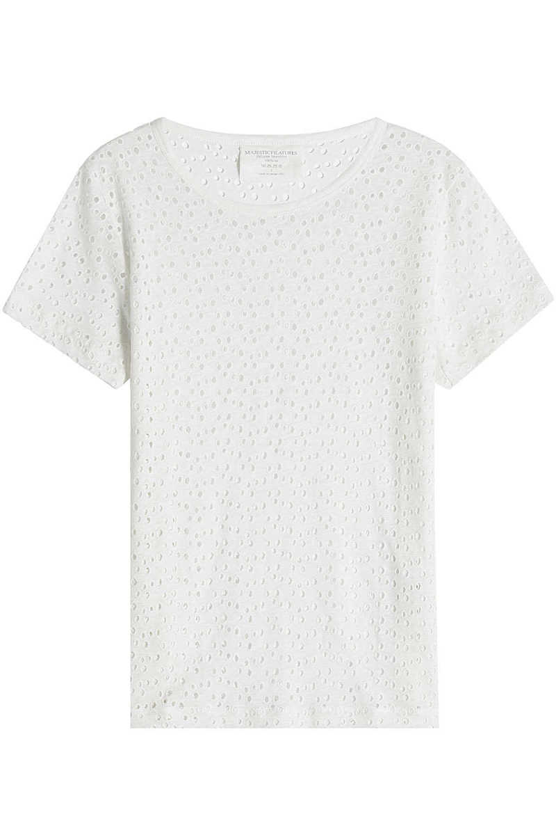 Majestic Linen Top with Cut Out Detail GOOFASH 267901