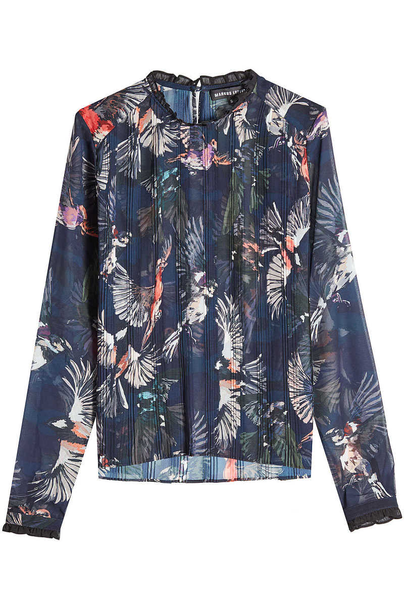 Markus Lupfer Pleated Blouse with Ruffled Trims GOOFASH 272322
