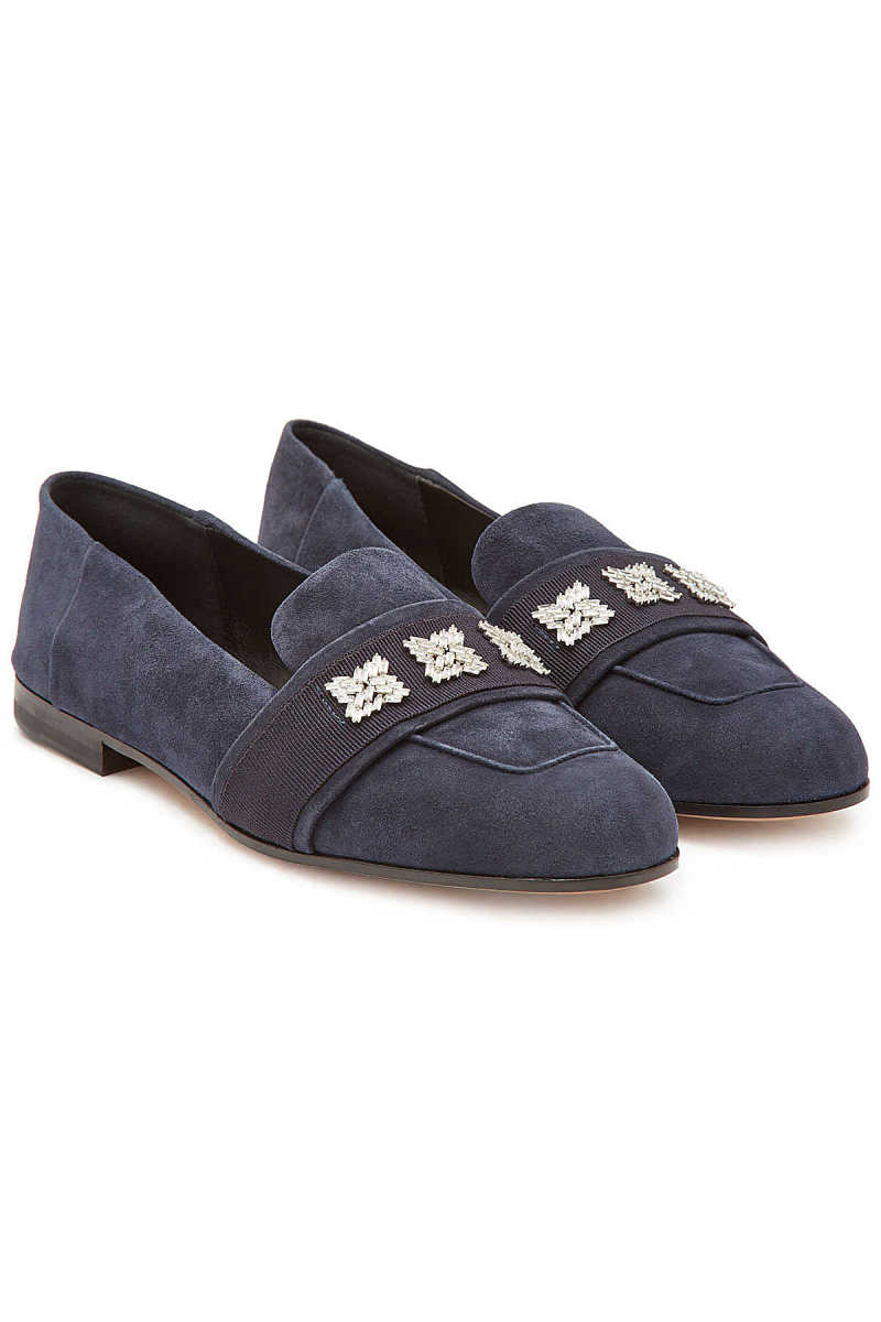 Max Mara Claire Suede Loafers with Crystals GOOFASH 298433