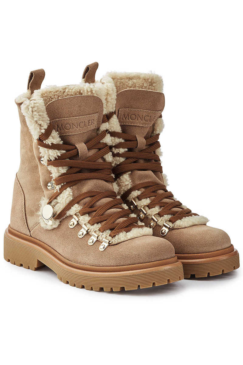 Moncler Berenice Suede Ankle Boots with Shearling GOOFASH 292139
