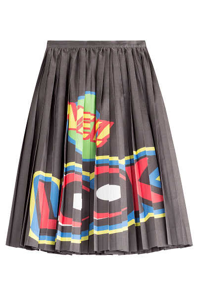 Moschino Cotton/Silk Pleated Skirt with Print GOOFASH 244811
