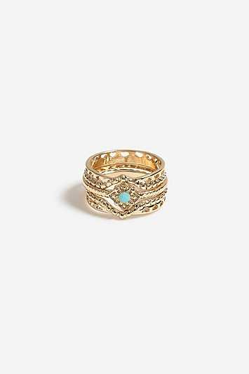 Multi Pack With Turquoise Rings - Gold - Topshop - GOOFASH - 602019001314993