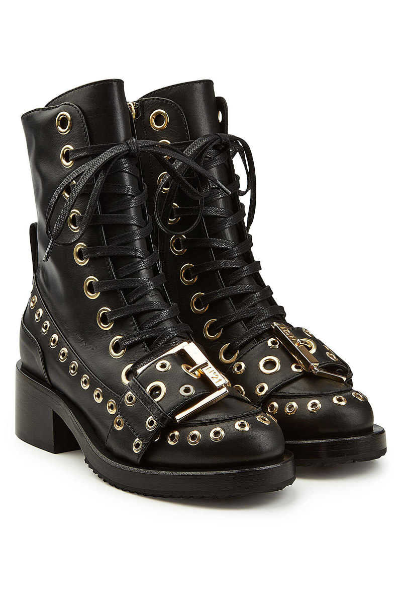 N°21 Embellished Leather Ankle Boots GOOFASH 287618