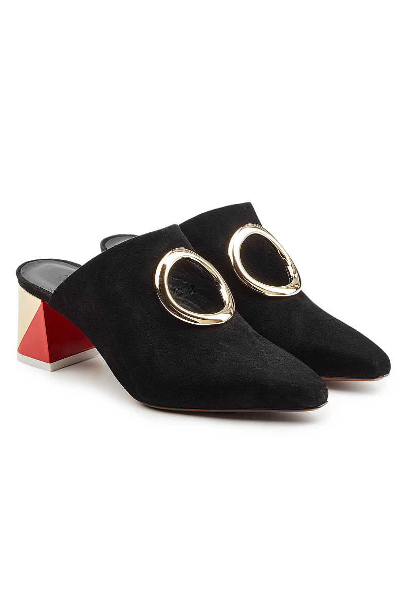 Neous Pleione Leather and Suede Mules GOOFASH 283509