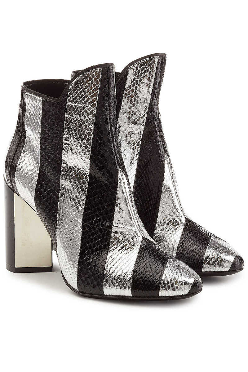 Pierre Hardy Leather Ankle Boots with Snakeskin GOOFASH 253246