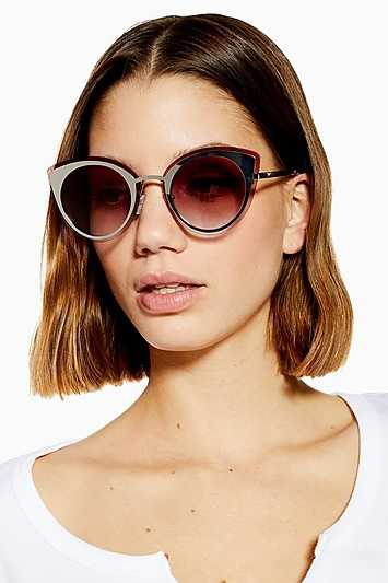 Polly Laid On Metal Sunglasses - Red - Topshop - GOOFASH - 602018001294724