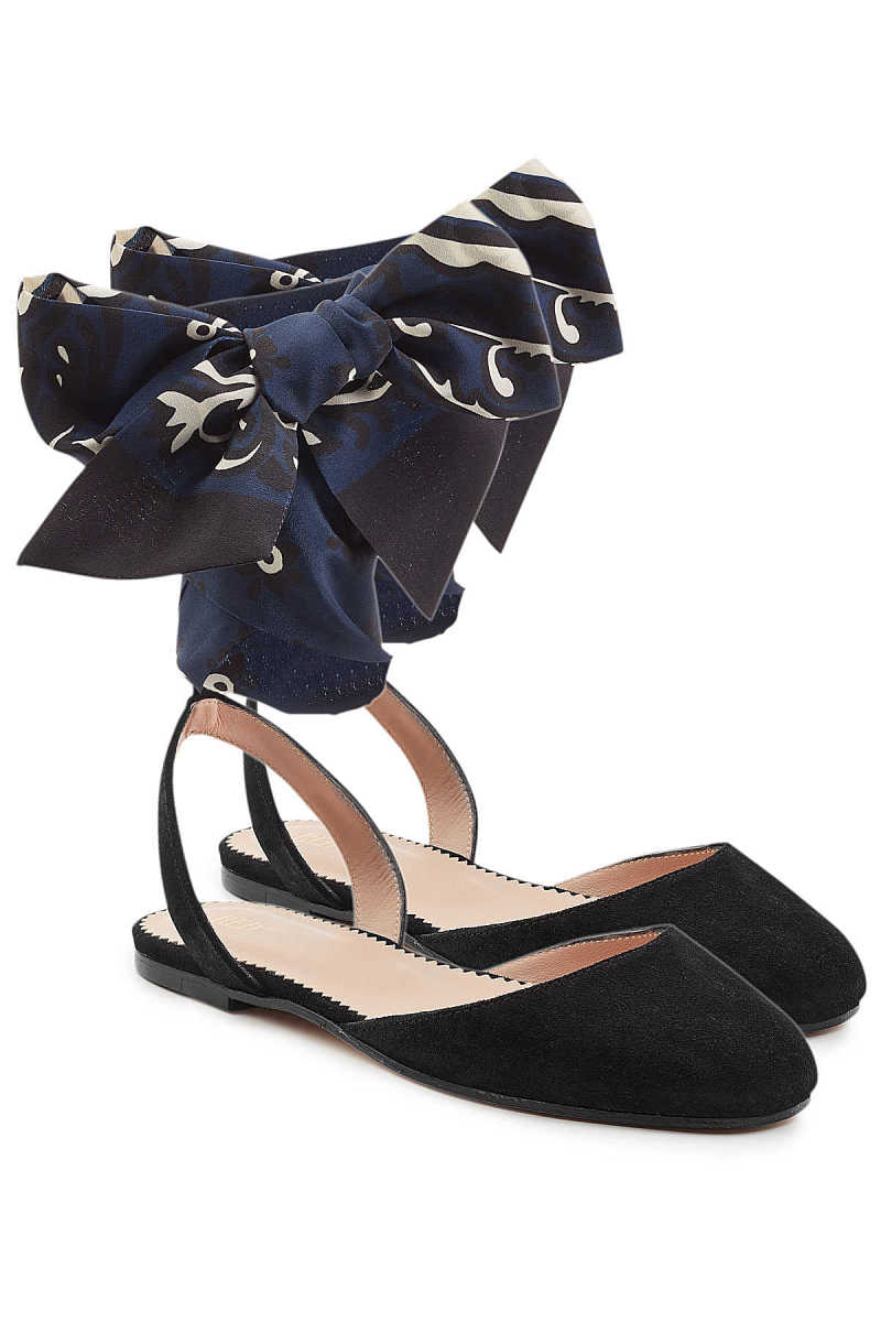 RED (V) Suede Ballerinas with Printed Bows GOOFASH 284745