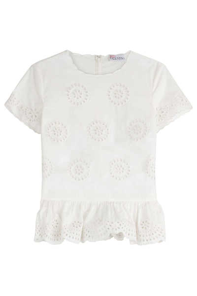 RED Valentino Embroidered Cotton Top GOOFASH 245154