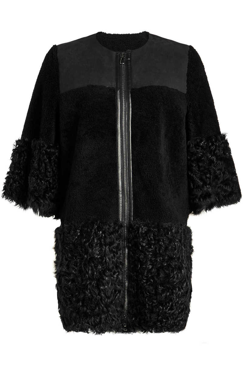 RED Valentino Lambskin Coat with Shearling GOOFASH 291281