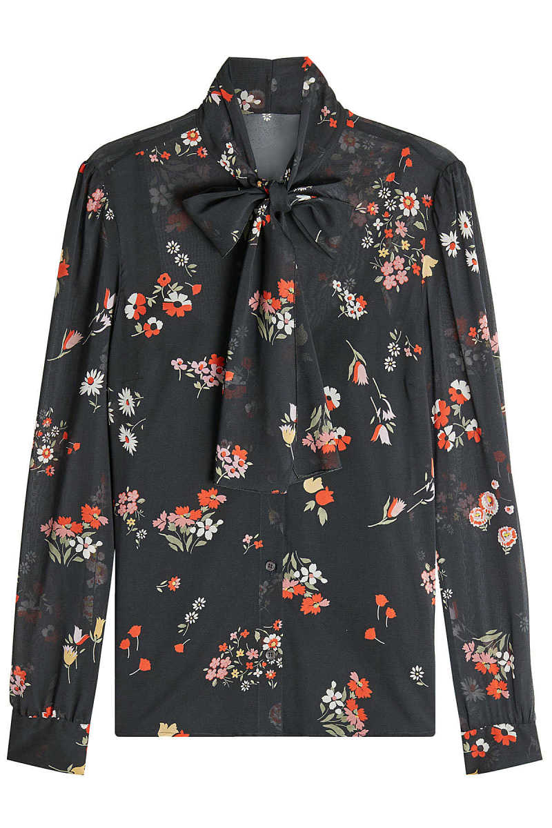 RED Valentino Pussy-Bow Printed Silk Blouse GOOFASH 262636
