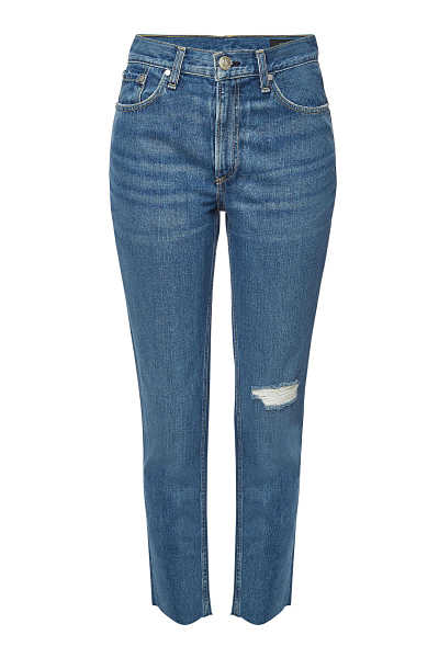 Rag & Bone/JEAN Cropped High Rise Skinny Jeans with Distressed Detail GOOFASH 289160