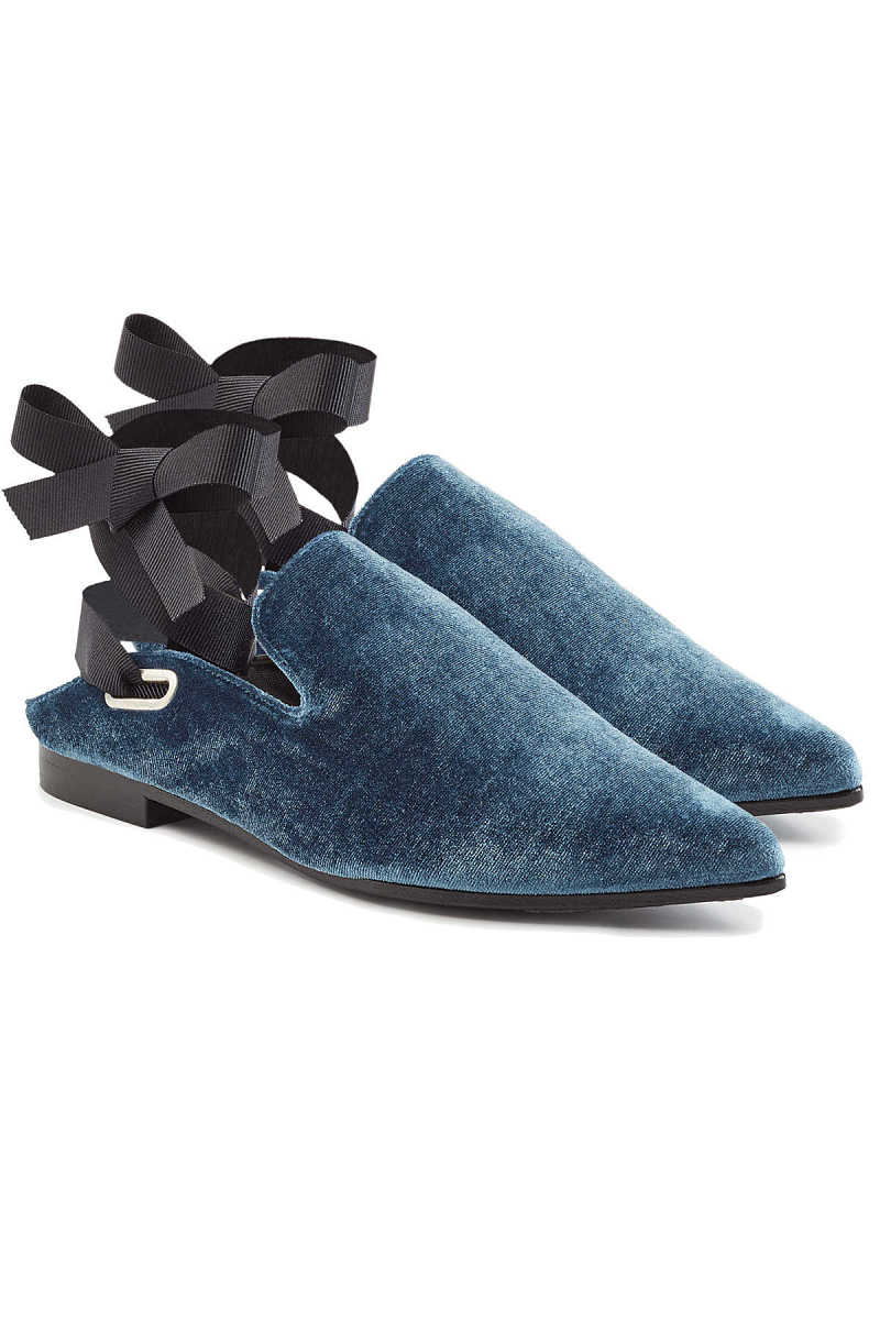 Robert Clergerie X Self-Portrait Lubat Velvet Mules with Self-Tie Ribbon Straps GOOFASH 276501
