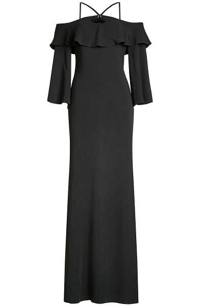 Roberto Cavalli Floor Length Dress with Cut-Out Shoulders GOOFASH 261616