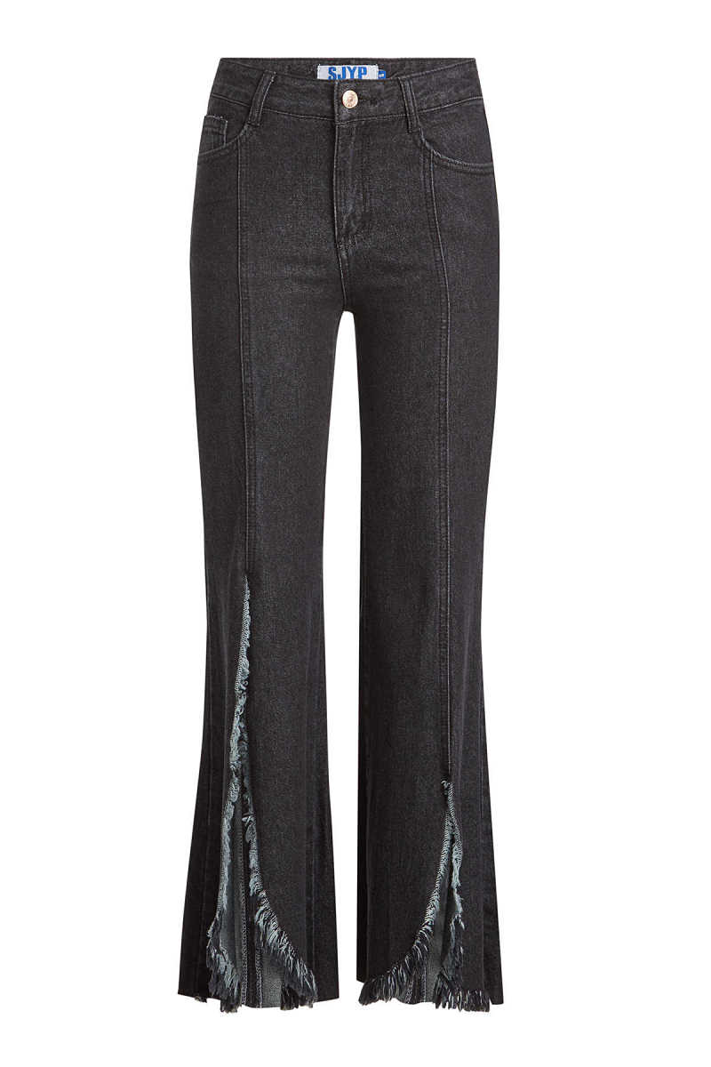 SJYP Flared Jeans with Distressed Fringing GOOFASH 271967