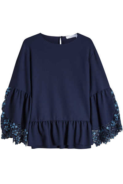 See by Chloé Flared Sleeve Crepe Top GOOFASH 293529