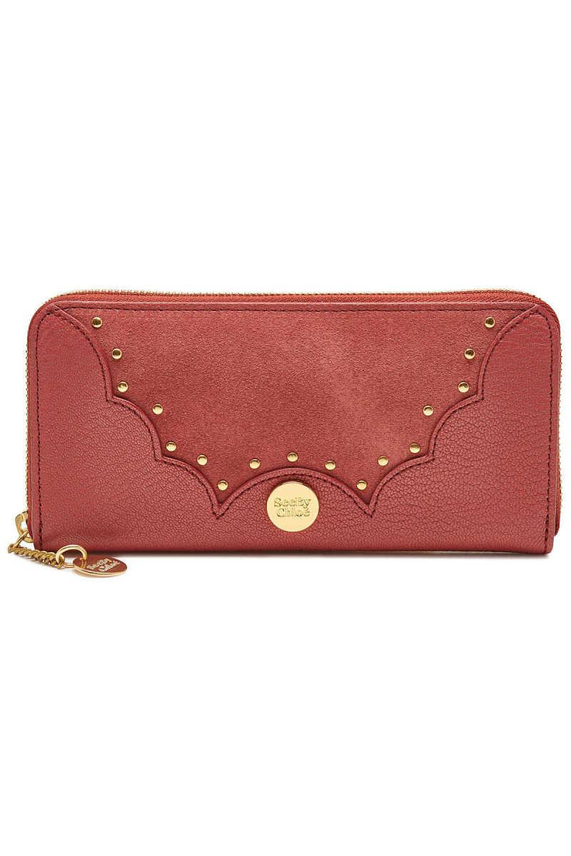 See by Chloé Nick Zipped Leather and Suede Wallet with Studs GOOFASH 299827