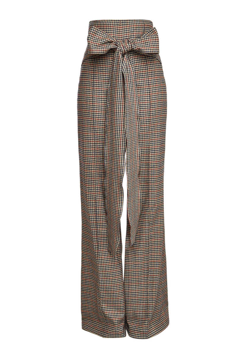 Silvia Tcherassi Marena Checked Wide Leg Pants with Wool GOOFASH 293135