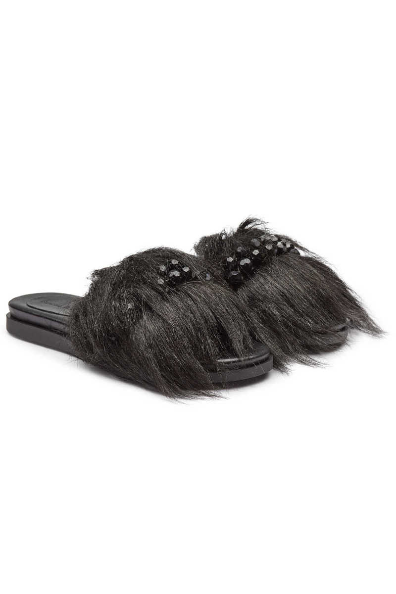 Simone Rocha Embellished Leather Slides with Faux Fur GOOFASH 294018