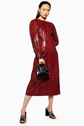 Snake Leather Midi Dress - Red - Topshop - GOOFASH - 602018001279657
