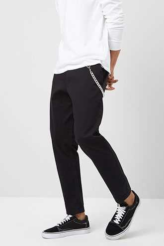 Straight-Leg Chino Pants at Forever 21 Black GOOFASH 2000341449060