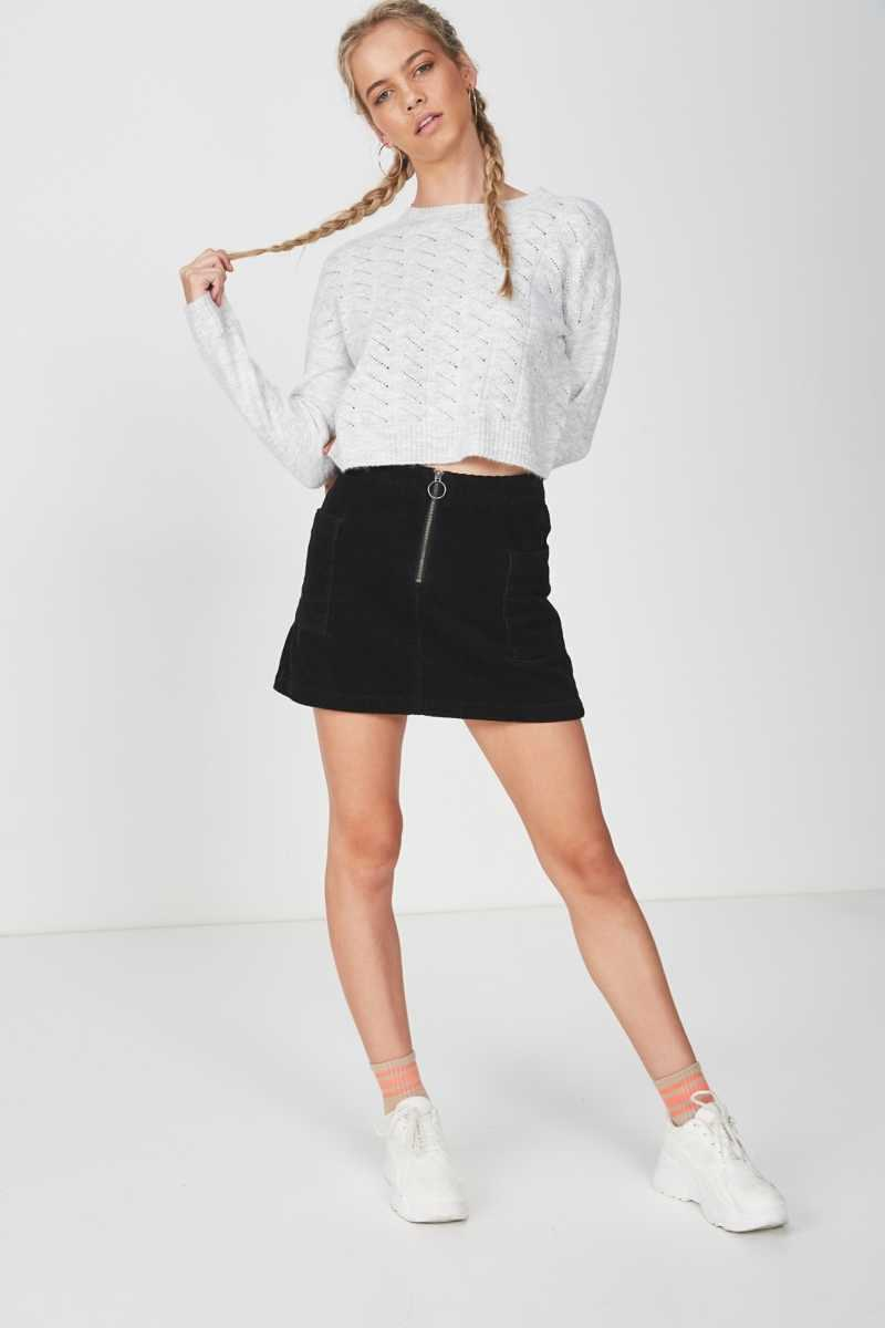 Supré - Leyla Longsleeve Cable Knit - Grey marle - Cotton On - GOOFASH