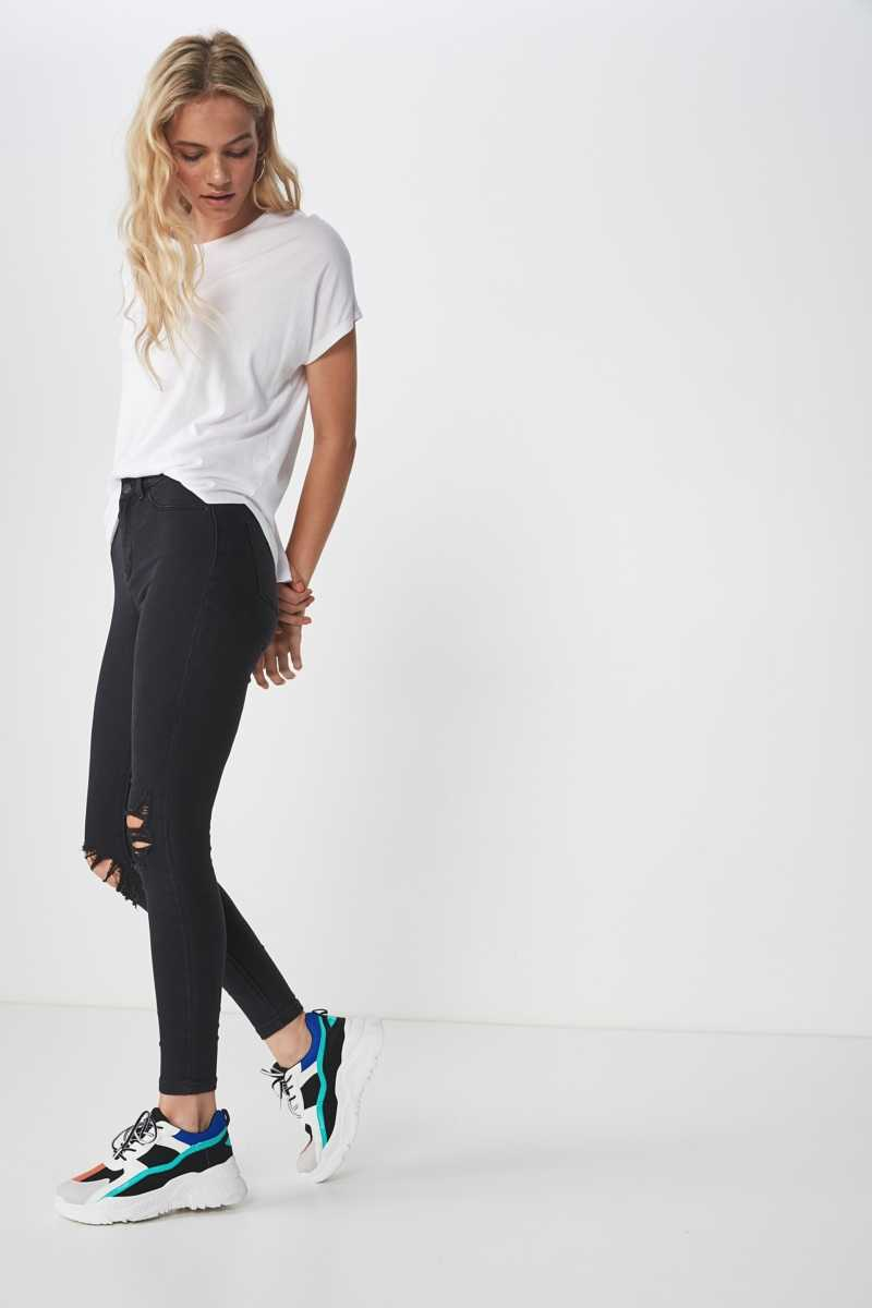 Supré - Super Skinny Ripped Jean - Washed black - Cotton On - GOOFASH
