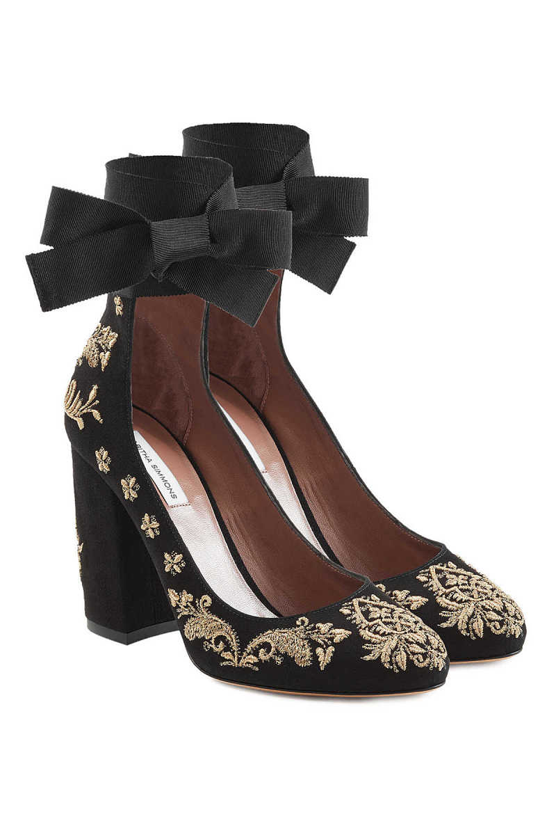 Tabitha Simmons Isabel Embroidered Suede Pumps GOOFASH 277880