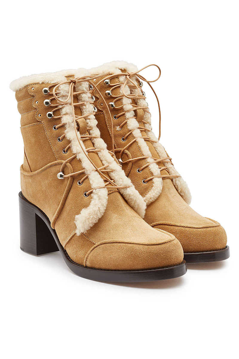 Tabitha Simmons Leo Suede Ankle Boots with Leather and Shearling Inside GOOFASH 292311