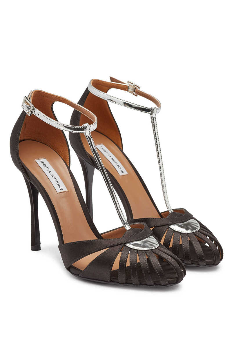 Tabitha Simmons Satin and Patent Leather High Heel Chelsea Sandals GOOFASH 299569