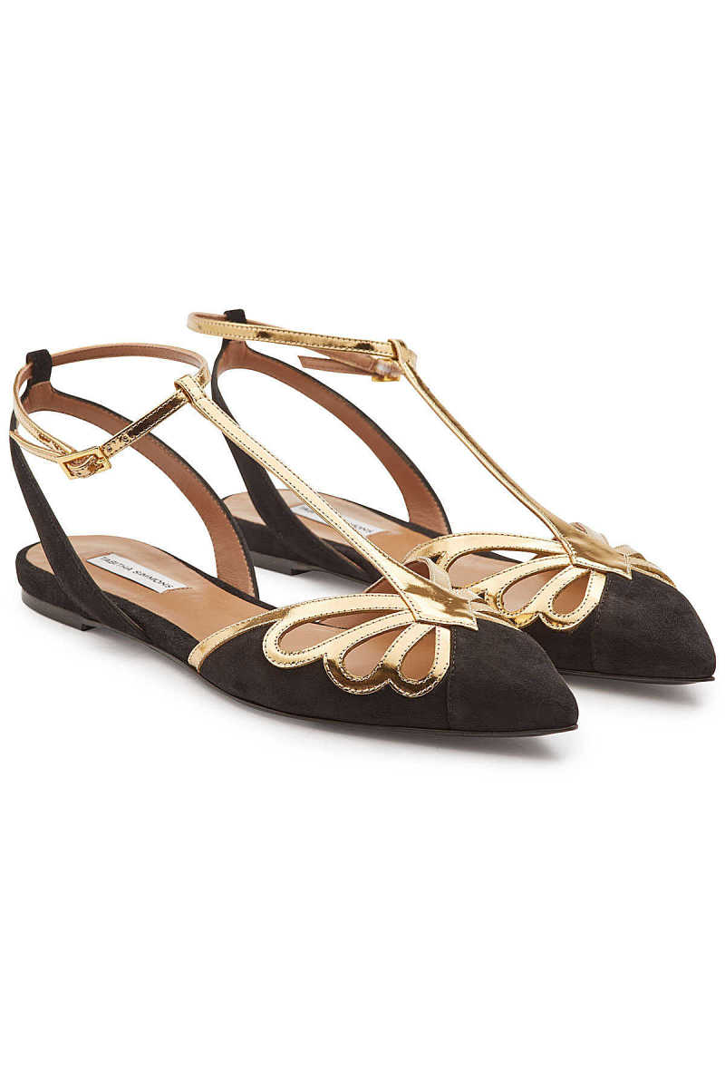 Tabitha Simmons Suede and Leather Mary-Jane Ballerinas GOOFASH 299579